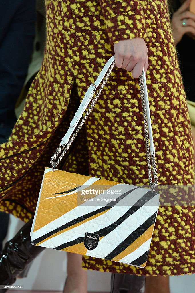 A model details of a bag walks the runway during the Christian Dior show as part of the Paris Fashion Week Womenswear Fall/Winter 2015/2016 on March...