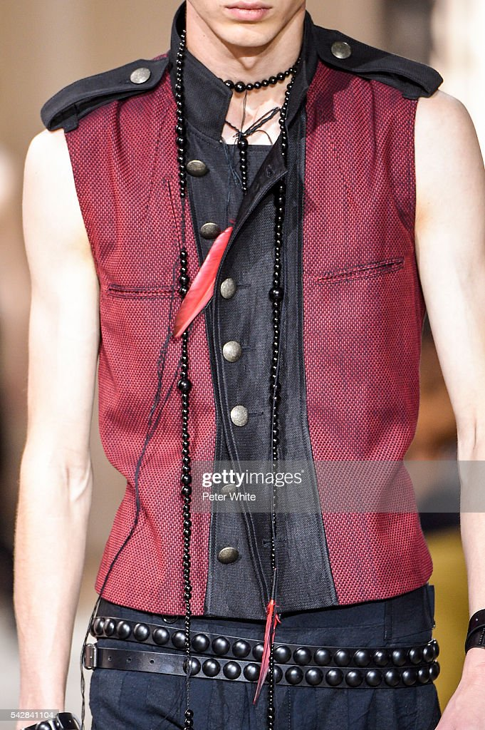 A model, details, walks the runway during the Ann Demeulemeester Menswear Spring/Summer 2017 show as part of Paris Fashion Week on June 24, 2016 in Paris, France.