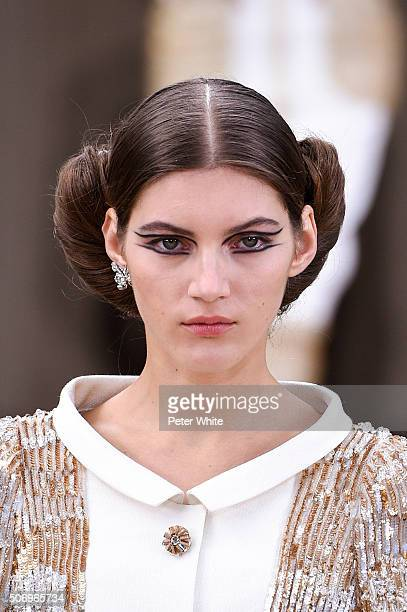 A model details walks the runway during the Chanel Spring Summer 2016 show as part of Paris Fashion Week on January 26 2016 in Paris France