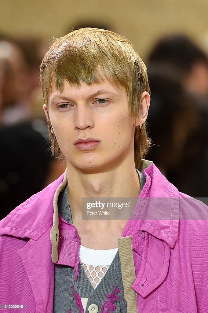 A model, details, walks the runway during the Sacai Menswear Spring/Summer 2017 show as part of Paris Fashion Week on June 25, 2016 in Paris, France.