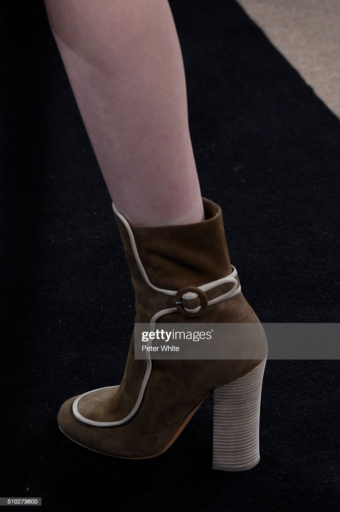 A model, details, walks the runway wearing Derek Lam Fall 2016 during New York Fashion Week: The Shows at The Gallery, Skylight at Clarkson Sq on February 14, 2016 in New York City.