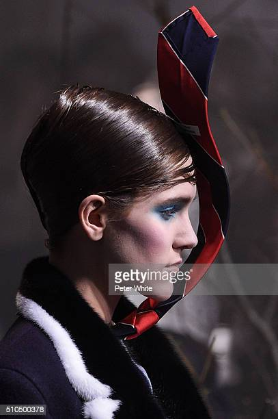 A model details walks the runway wearing Thom Browne Fall 2016 during New York Fashion Week on February 15 2016 in New York City