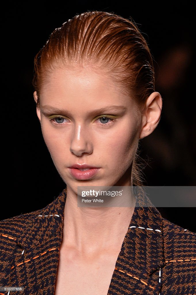 A model, details, walks the runway wearing Victoria Beckham Fall 2016 during New York Fashion Week at The Cunard Building on February 14, 2016 in New York City.