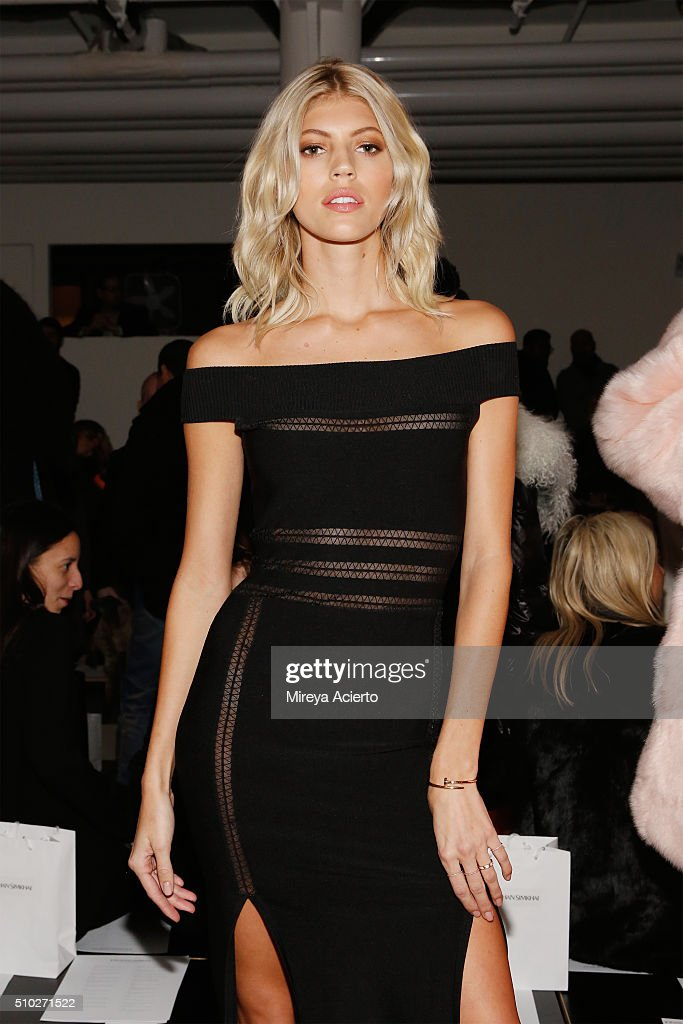 Model <a gi-track='captionPersonalityLinkClicked' href=/galleries/search?phrase=Devon+Windsor&family=editorial&specificpeople=10486182 ng-click='$event.stopPropagation()'>Devon Windsor</a> attends the Jonathan Simkhai fashion show during Fall 2016 MADE Fashion Week at Milk Studios on February 14, 2016 in New York City.