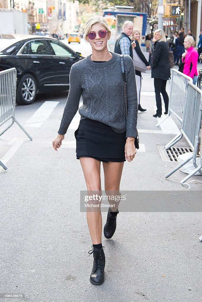 Model Devon Windsor is seen arriving at rehearsals for the 2015 Victoria's Secret Fashion Show at the Lexington Avenue Armory on November 9 2015 in...