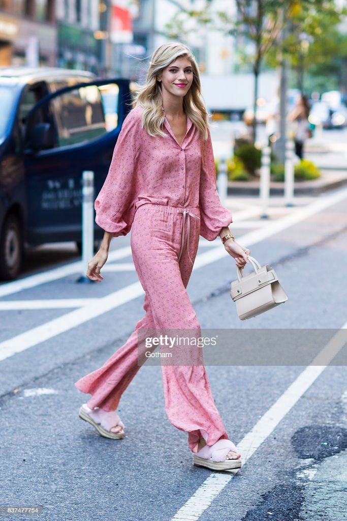 Model Devon Windsor is seen in Midtown on August 22, 2017 in New York City.