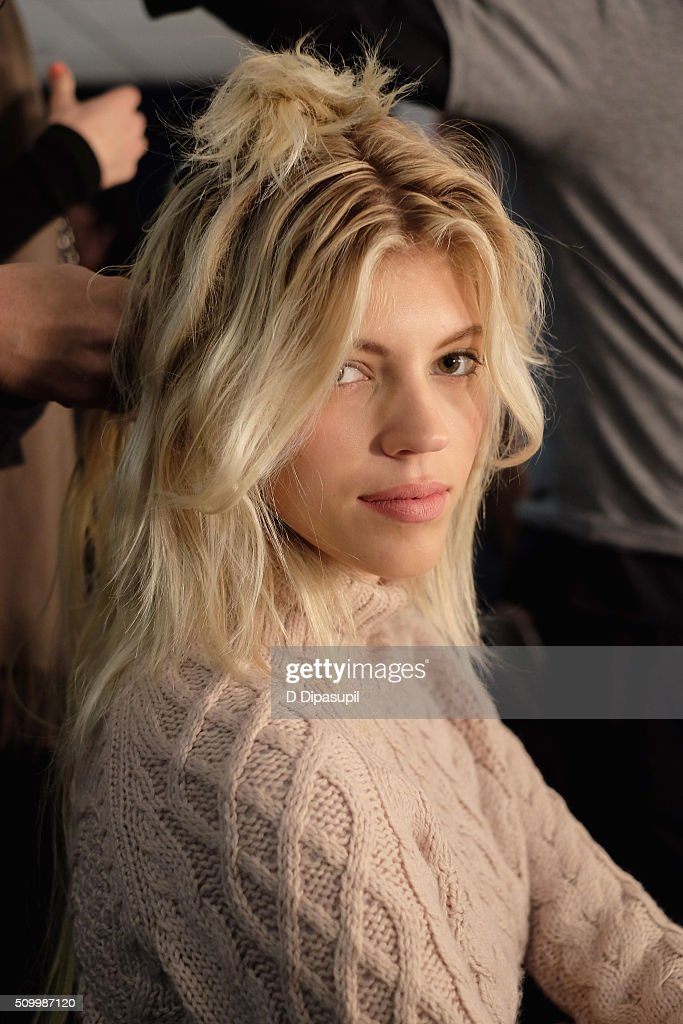 Model <a gi-track='captionPersonalityLinkClicked' href=/galleries/search?phrase=Devon+Windsor&family=editorial&specificpeople=10486182 ng-click='$event.stopPropagation()'>Devon Windsor</a>, prepares backstage at the Rebecca Minkoff Fall 2016 fashion show during New York Fashion Week: The Shows at The Gallery, Skylight at Clarkson Sq on February 13, 2016 in New York City.