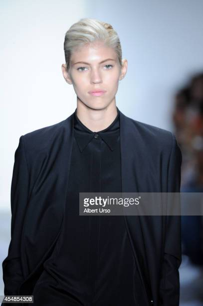 Model Devon Windsor walks the runway at the Public School fashion show during MercedesBenz Fashion Week Spring 2015 at Milk Studios on September 7...