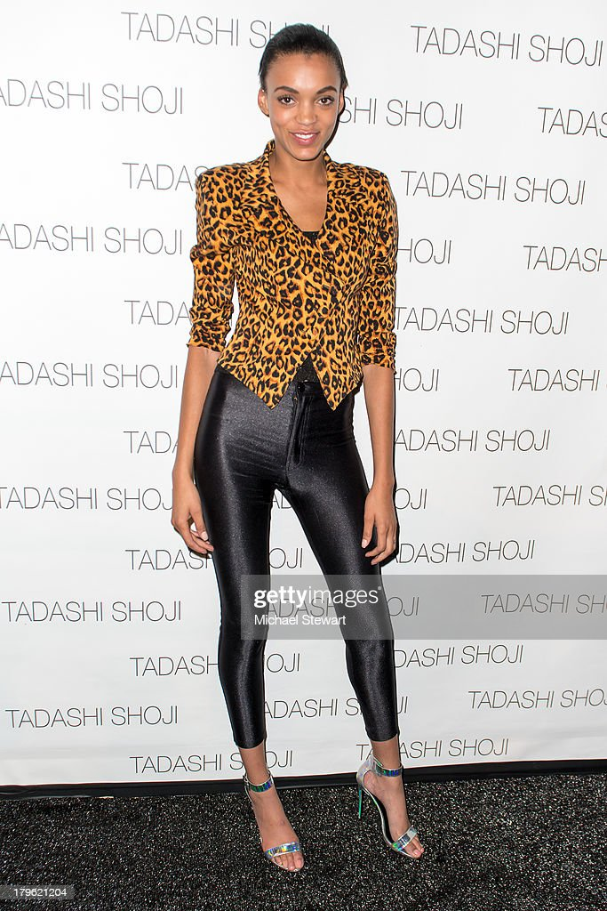 Model Devyn Abdullah attends the Tadashi Shoji show during Spring 2014 Mercedes-Benz Fashion Week at The Stage at Lincoln Center on September 5, 2013 in New York City.