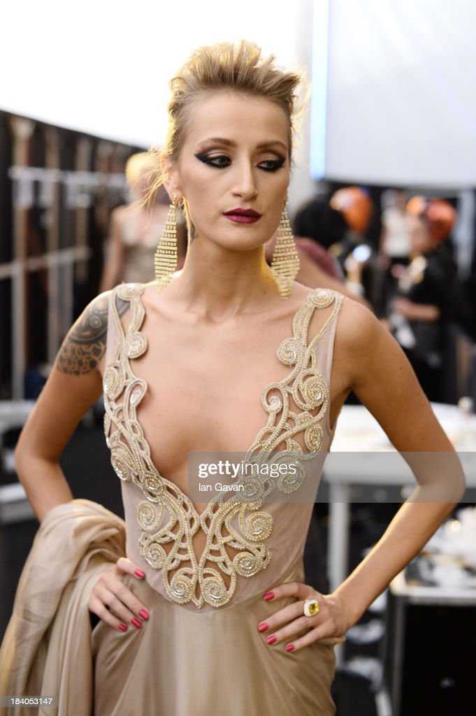 Model Didem Soydan is seen backstage at the Odrella show during Mercedes-Benz Fashion Week Istanbul s/s 2014 Presented By American Express on October 11, 2013 in Istanbul, Turkey.