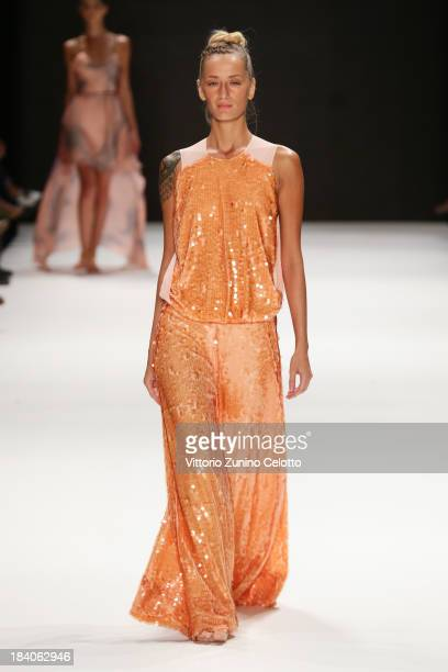 Model Didem Soydan walks the runway at the Janucha By Jale Hurdogan show during MercedesBenz Fashion Week Istanbul s/s 2014 Presented By American...