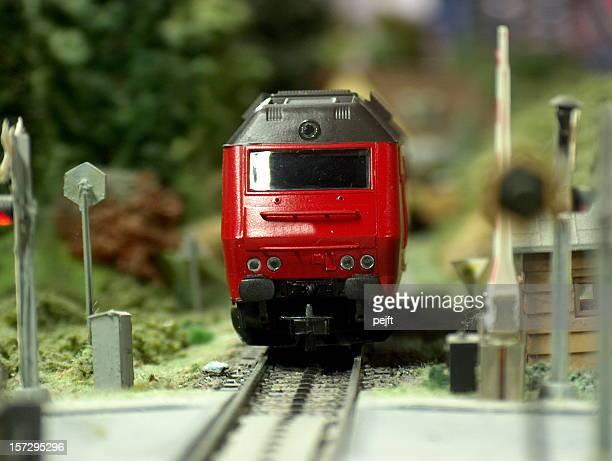 Model diesel Locomotive scale H0 passing crossing