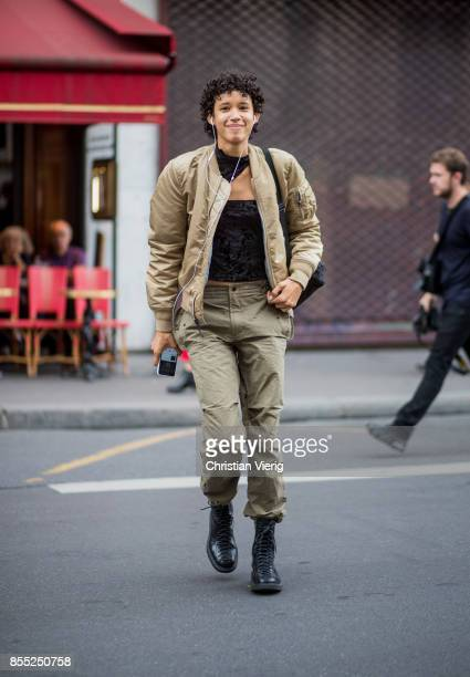 Model Dilone is seen outside Balmain during Paris Fashion Week Spring/Summer 2018 on September 28 2017 in Paris France