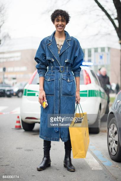 Model Dilone poses after the Fendi show during Milan Fashion Week Fall/Winter 2017/18 on February 23 2017 in Milan Italy