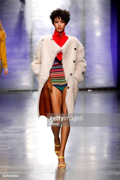 Model Dilone walks the runway at the Topshop Unique designed by Kate Phelan show during the London Fashion Week February 2017 collections on February...