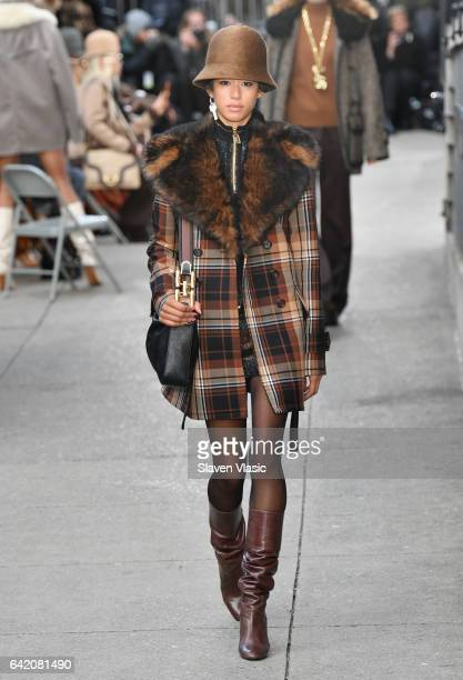 Model Dilone walks the runway for the Marc Jacobs Fall 2017 Show at Park Avenue Armory on February 16 2017 in New York City