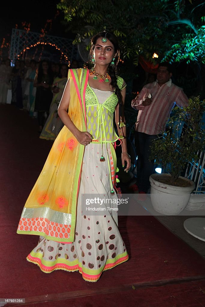 A model display creation at the launch of Spring collection of Fashion Label Wakalma at Olive Bar & Kitchen, Mehrauli on on April 29, 2013 in New Delhi, India.