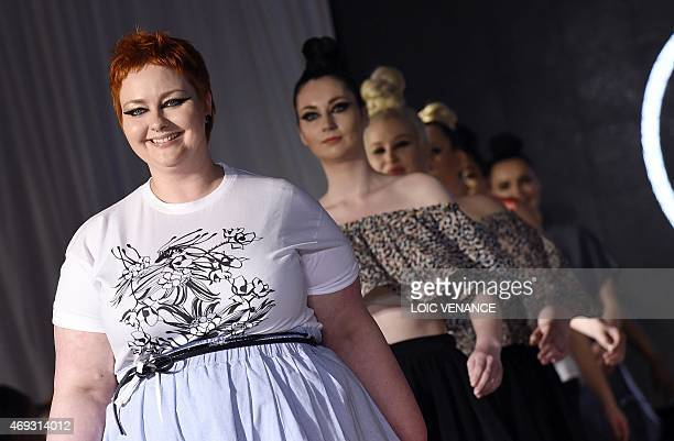 Model display creations by fashion designer Pauline et Julie during a show as part of the 3rd edition of the Pulp Fashion Week Paris on April 11 2015...