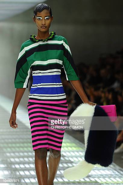 A model displays a creation as part of Prada springsummer 2011 readytowear collection on September 23 2010 during the Women's fashion week in Milan...