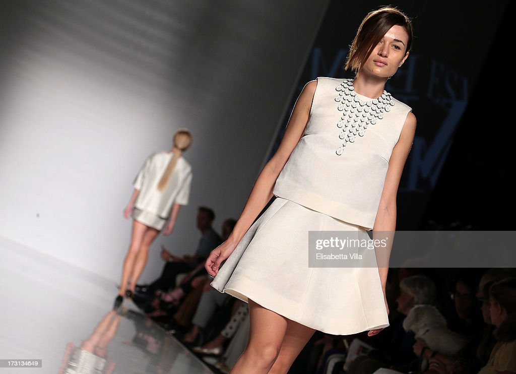 A model displays a creation by Esme Vie during 'Who Is On Next?' Altaroma Vogue Italia fashion show as part of AltaRoma AltaModa Fashion Week at Santo Spirito In Sassia on July 8, 2013 in Rome, Italy.