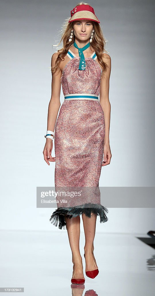 A model displays a creation by Greta Boldini during 'Who Is On Next?' Altaroma Vogue Italia fashion show as part of AltaRoma AltaModa Fashion Week at Santo Spirito In Sassia on July 8, 2013 in Rome, Italy.