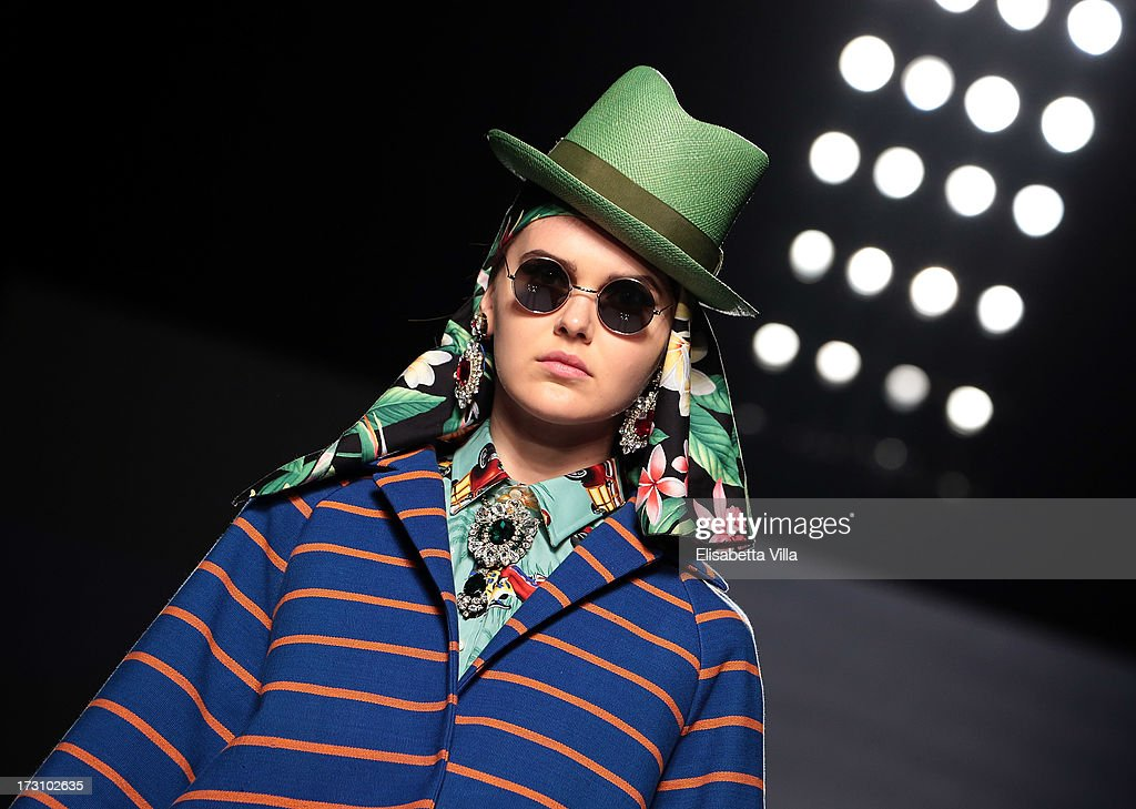 A model displays a creation by Stella Jean during It's Ethical Fashion 'Bring Africa to Rome' catwalk collection S/S 2014 fashion show as part of AltaRoma AltaModa Fashion Week at Santo Spirito In Sassia on July 7, 2013 in Rome, Italy.