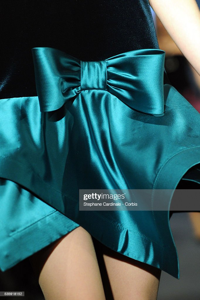 A model displays a creation from Pierre Cardin show as part of Paris Fashion Week Spring/Summer 2011 at Espace Pierre Cardin in Paris.