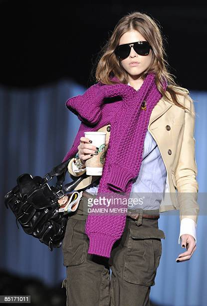 A model displays a creation of Dsquared2 Fall/Winter 20092010 readytowear collection on March 2 2009 during the Women's fashion week in Milan AFP...