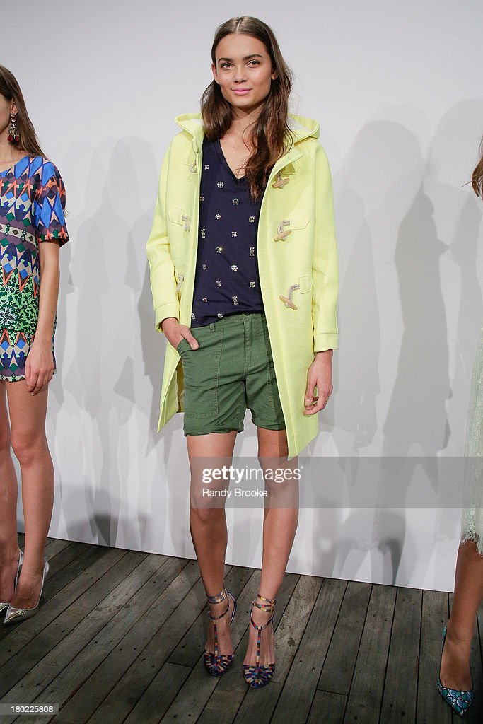 A model displays a design at the J.Crew presentation during Spring 2014 Mercedes-Benz Fashion Week at The Studio at Lincoln Center on September 10, 2013 in New York City.