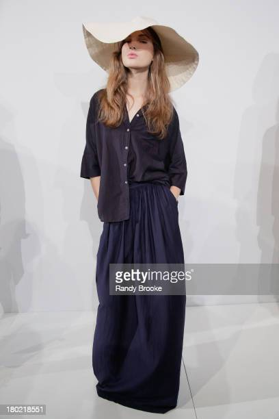 A model displays a design at the Steven Alan presentation during Spring 2014 MercedesBenz Fashion Week at The Box at Lincoln Center on September 10...
