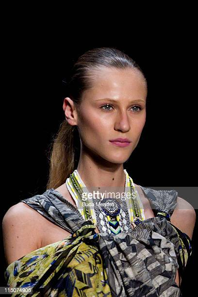 A model displays a design by Teca during the Fashion Rio Summer 2012 at Pier Maua on June 02 2012 in Rio de Janeiro Brazil
