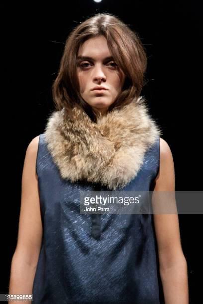 A model displays a design during the Woolrich John Rich Bros Fall 2011 presentation during MercedesBenz Fashion Week at Eyebeam on February 14 2011...