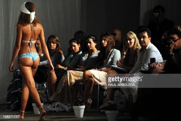 A model displays a swimsuit by Colombian brand Lycra during the Colombiatex fair on January 26 2011 in Medellin Antioquia department Colombia AFP...