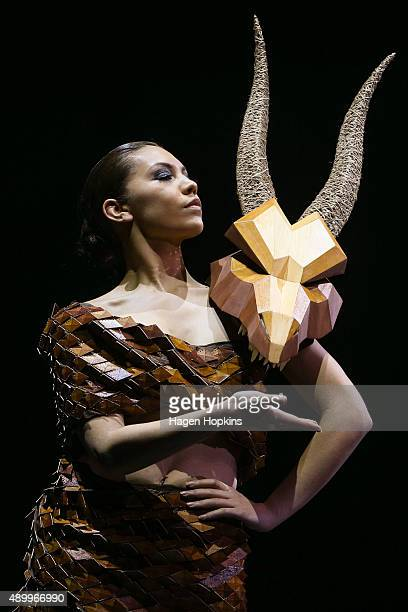 A model displays 'Agnisk' by Luca Ribeiro Marina Voronova and Joe Dixon of Victoria University New Zealand in the Costume and Film Section Other...