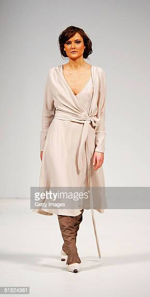 A model displays an autumn/winter 2005 creation from New Zealand design label 'Pearl' during the Air New Zealand Fashion Week at the Viaduct Harbour...