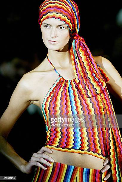 A model displays an outfit by Missoni collection during the last day of the Milan 2004 Spring/Summer fashion week 05 October 2003 AFP PHOTO/PAOLO...