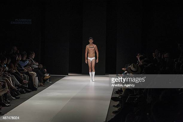 A model displays an underwear during the parade of Plumbum Engineered mens underwear and swimwear label at the first day of South Africa Fashion Week...