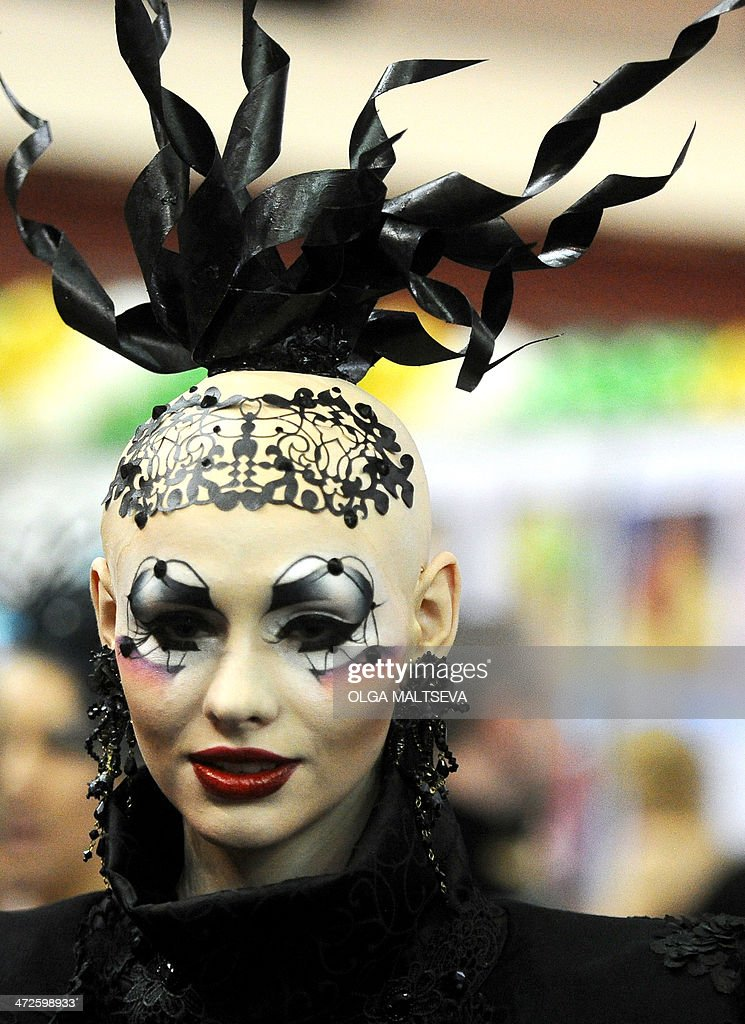 A model displays creations by hairdressing and make up students during the international beauty festival 'Nevskie berega' (Neva River banks) in Russia's second city of Saint Petersburg on February 21, 2014.