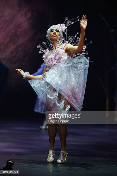 A model displays 'Crystallization' by Carolyn Gibson of New Zealand in the Avant Garde Section during the World Of WearableArt charity preview show...