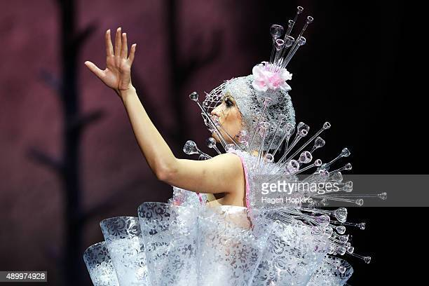 A model displays 'Crystallization' by Carolyn Gibson of New Zealand in the Avant Garde Section during the World of WearableArt Awards 2015 at TSB...