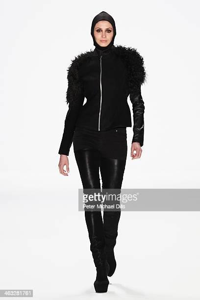 A model displays fashion of David Anderson at the Balagans David Andersen Indra Salcevica Baltic Fashion Catwalk show during MercedesBenz Fashion...