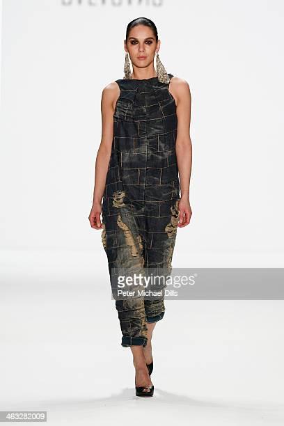A model displays fashion of the Balagans at the Balagans David Andersen Indra Salcevica Baltic Fashion Catwalk show during MercedesBenz Fashion Week...