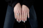 A model displays her fingernails during the Libertine Show during MercedesBenz Fashion Week Fall 2014 at The Pavilion at Lincoln Center on February...
