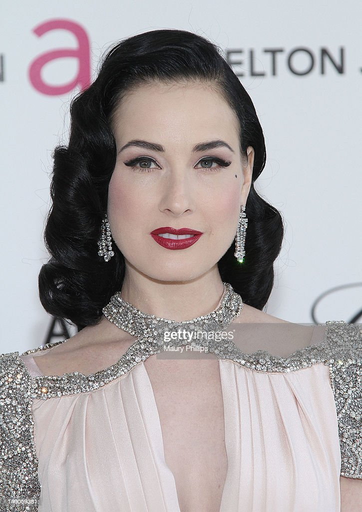 Model Dita Von Teese arrives at the 20th Annual Elton John AIDS Foundation Academy Awards Viewing Party at Pacific Design Center on February 26, 2012 in West Hollywood, California.