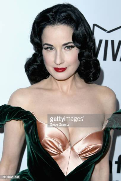 Model Dita Von Teese attends the amfAR Gala 2017 at Ron Burkle's Green Acres Estate on October 13 2017 in Beverly Hills California