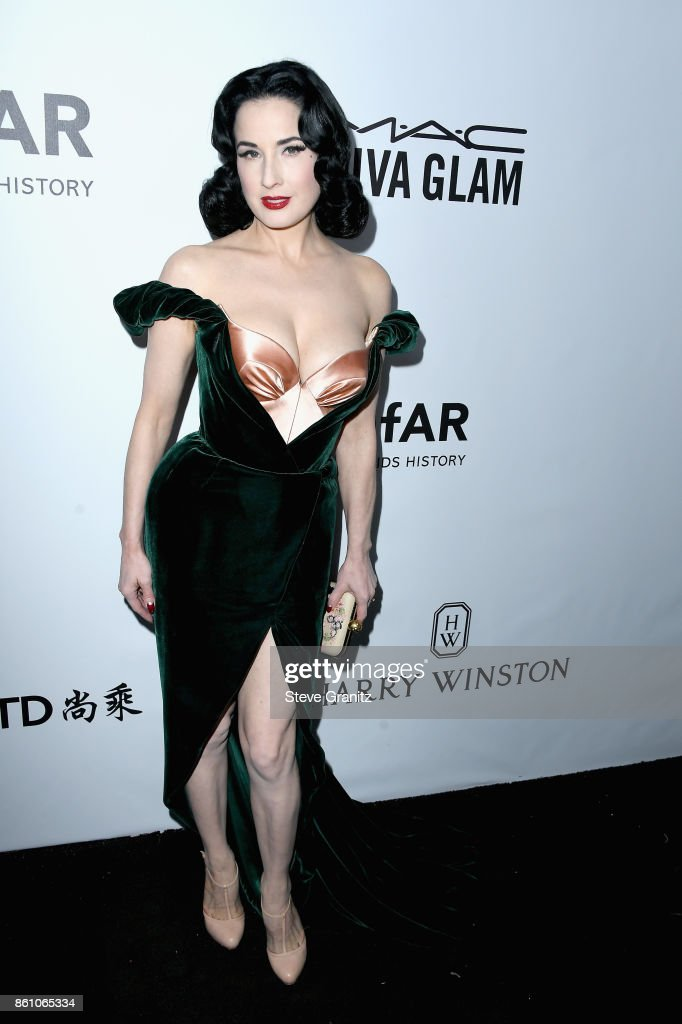 Model Dita Von Teese attends the amfAR Gala 2017 at Ron Burkle's Green Acres Estate on October 13, 2017 in Beverly Hills, California.