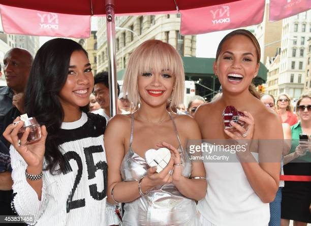 Model DJ Hannah Bronfman actress singer Rita Ora and model Chrissy Teigen attend as DKNY celebrates the launch of the new DKNY MYNY fragrance with...