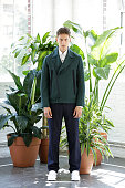 Model Dmitry Brylev of Russia poses at the Carlos Campos Spring/Summer 2016 Presentation during New York Fashion Week Men's S/S 2016 at Industria...