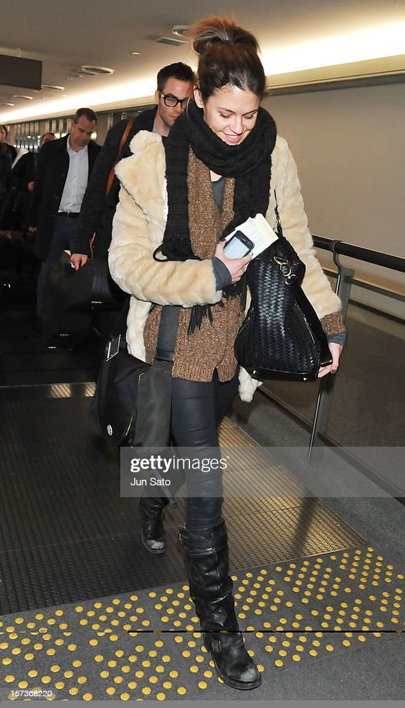 Model Dominique Piek arrives at Narita International Airport on December 3, 2012 in Narita, Japan.