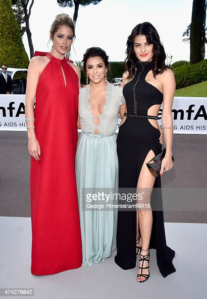Model Doutzen Kroes Actress Eva Longoria and Model Isabeli Fontana attend amfAR's 22nd Cinema Against AIDS Gala Presented By Bold Films And Harry...